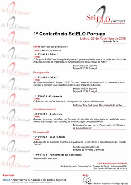 1ª Conferência SciELO Portugal