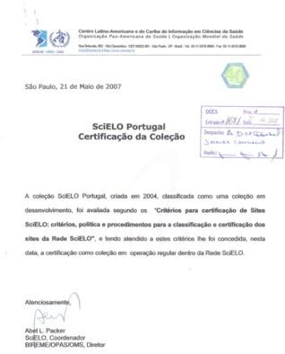 Certificação da coleção SciELO Portugal